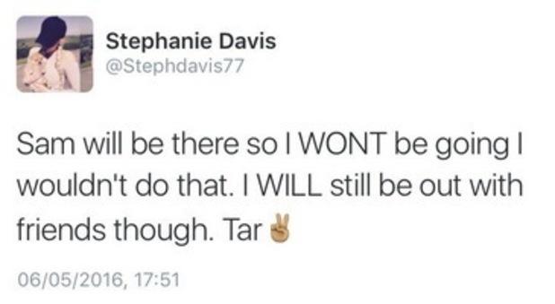 Stephanie Davis tweet about Sam Reece.