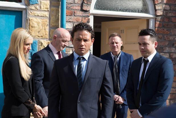 Corrie, Jason goes to Tony's funeral, Mon 9 May