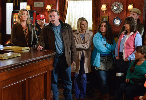 EastEnders, Ian talks to the residents about the sale of Beales', Fri 6 May
