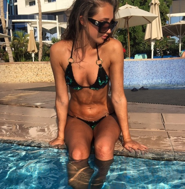 Megan McKenna poses in personalised bikini with Pete Wicks' initials 3 May