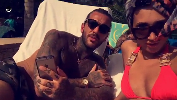 Megan McKenna in a pink bikini, with Pete Wicks, in Dubai Snapchat, 5 May 2016