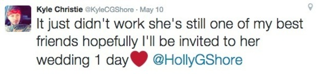 Kyle Christie tweets about Holly Hagan wedding 11 May