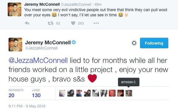 Jeremy McConnell posts cryptic rant on Twitter - 9 May 2016