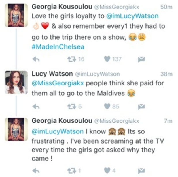 Georgia Kousoulou and Lucy Watson tweets 10 May