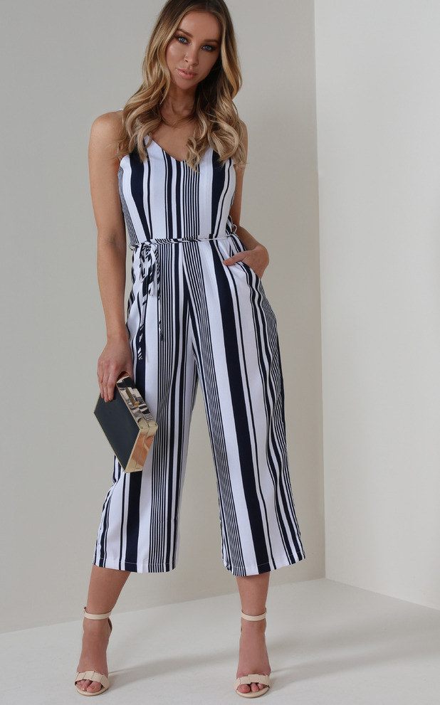 Former TOWIE star Lauren Pope shares her top picks from online fashion website Vavavoom, striped jumpsuit, 11th May 2016