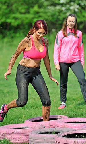 Amy Childs trains for Race for Life's Pretty Muddy event 9 May 2016