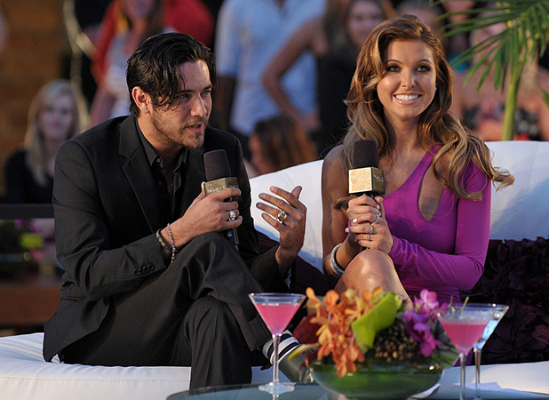 Justin Brescia (L) and Audrina Patridge speak onstage at MTV's 'The Hills Live: A Hollywood Ending' Finale event held at The Roosevelt Hotel on July 13, 2010 in Hollywood, California. (Photo by John Shearer/Getty Images for MTV.com)
