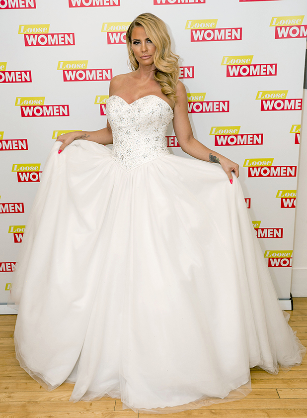 katie price wears wedding dress on loose women and takes