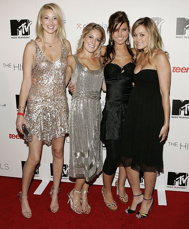 Cast members (L-R) Whitney, Heidi, Audrina and Lauren attend the viewing party for the MTV Music Television documentary/drama show 'The Hills' on May 31, 2006 at club LAX in Los Angeles, California. (Photo by Vince Bucci/Getty Images For MTV)