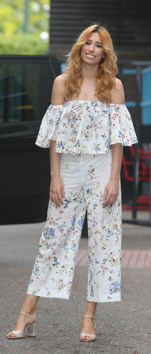 Stacey Solomon outside ITV Studios wearing floral jumpsuit, 19th May 2016