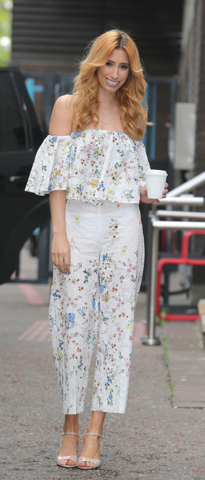 TV presenter Stacey Solomon outside ITV Studios wearing floral jumpsuit, 19th May 2016