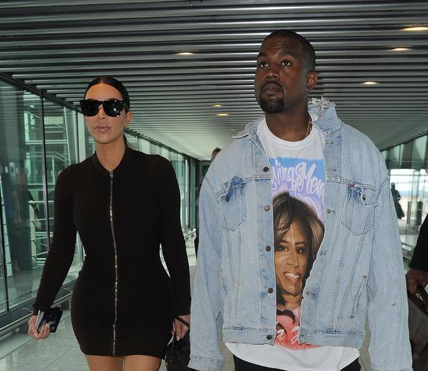 Kim Kardashian, Kanye West at Heathrow