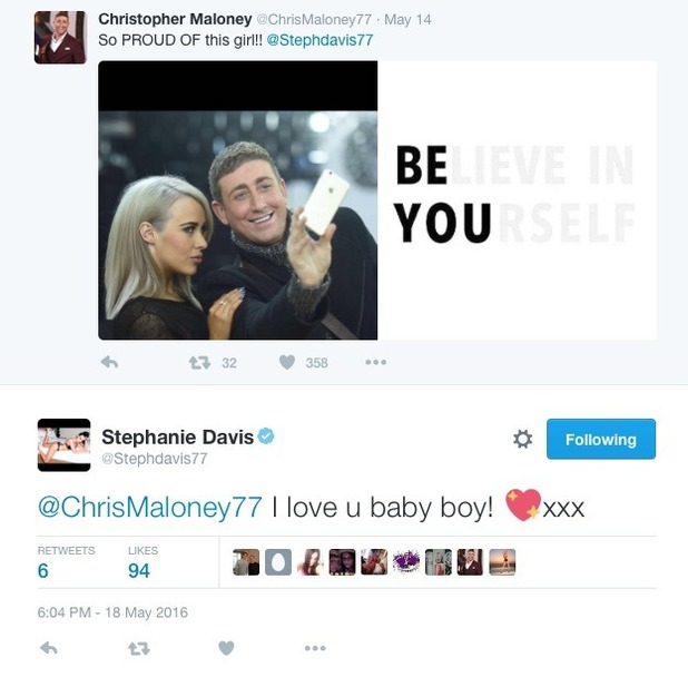 Stephanie Davis receives support from Chris Maloney after Jeremy McConnell splits - 18 May 2016