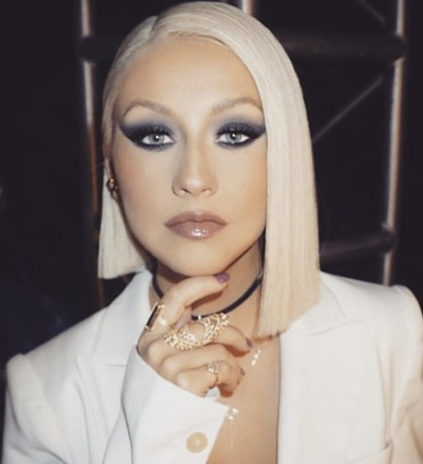 Christina Aguilera, NBC's The Voice, shows off another new hairdo - this time a blonde, blunt bob, 17 May 106