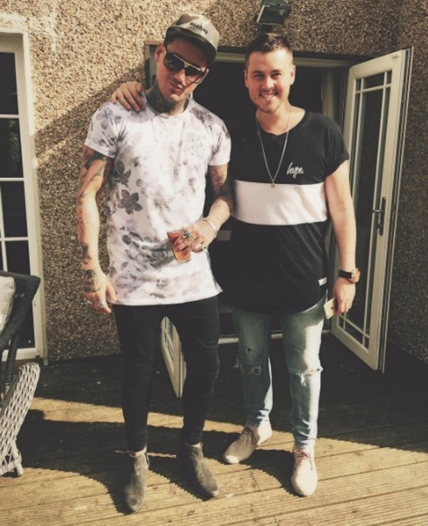 Jeremy McConnell and friend pose before a night out - 19 May 2016