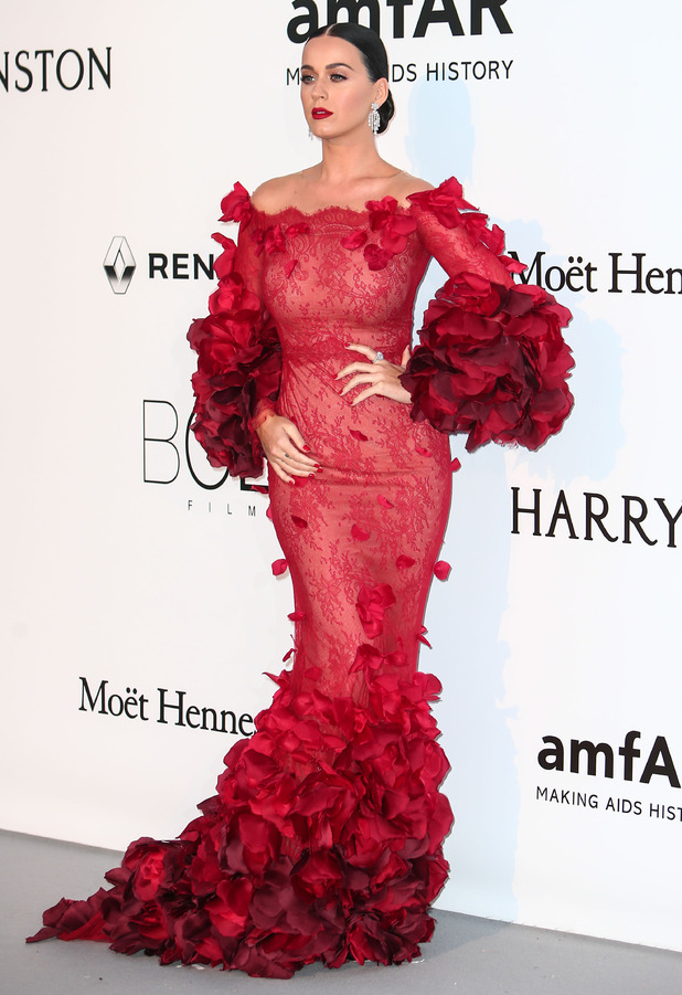 Katy Perry wears ruffly red dress to the amfAR fundraiser event at Hotel Du Cap Eden Roc, France, 19th May 2016