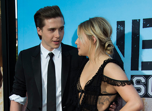 Chloe Grace Moretz (R) and Brooklyn Beckham attend the American Premiere of Universal Pictures 'Neighbors 2: Sorority Rising' in Westwood, California, on May 16, 2016. / AFP / VALERIE MACON