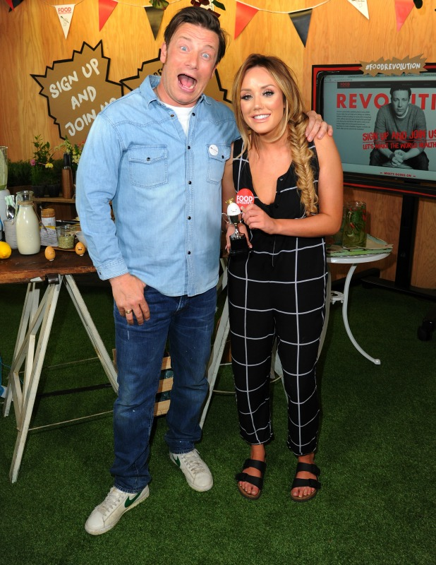 Jamie Oliver and Charlotte Crosby take part Jamie Oliver's Food Revolution Day on May 20, 2016 in London, United Kingdom. Jamie Oliver launches a Facebook 'Live' event to bring awareness to the issues of obesity and malnutrition in the world.
