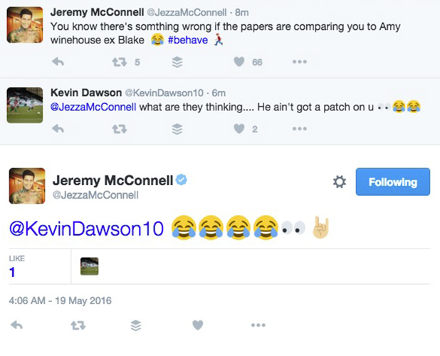 Jeremy McConnell tweets about comparison to Blake Fielder-Civil 19 May 2016