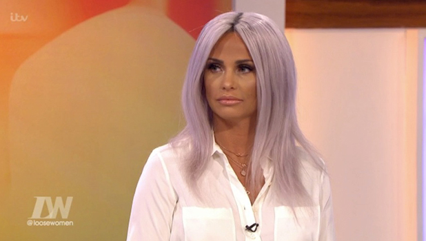 Katie Price has lilac hair on Loose Women 17 May 2016