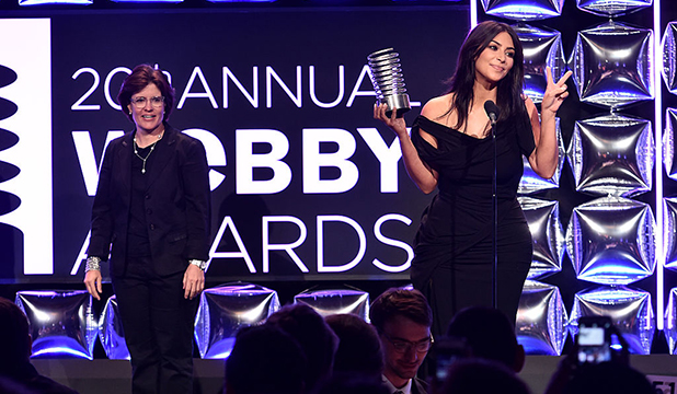 Kara Swisher presents award to Kim Kardashian West on stage at the 20th Annual Webby Awards at Cipriani Wall Street on May 16, 2016 in New York City. (Photo by Dimitrios Kambouris/Getty Images for The Webby Awards)