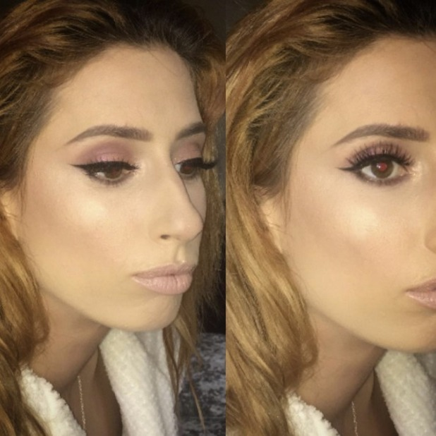 Stacey Solomon shows off make-up (by Krystal Dawn) before appearing on Britain's Got Talent, 25 May 2016