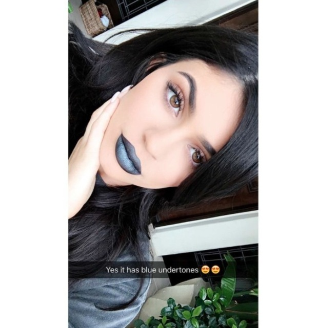 Keeping Up With The Kardashians star Kylie Jenner shows off the latest shade in her Lip Kit collection: Majesty, a deep midnight blue, 25th May 2016