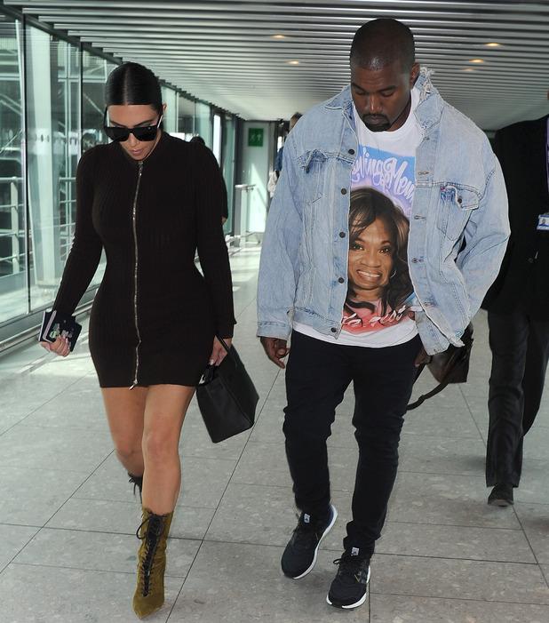 Kim Kardashian and Kanye West at Heathrow Airport in London, 22nd May 2016