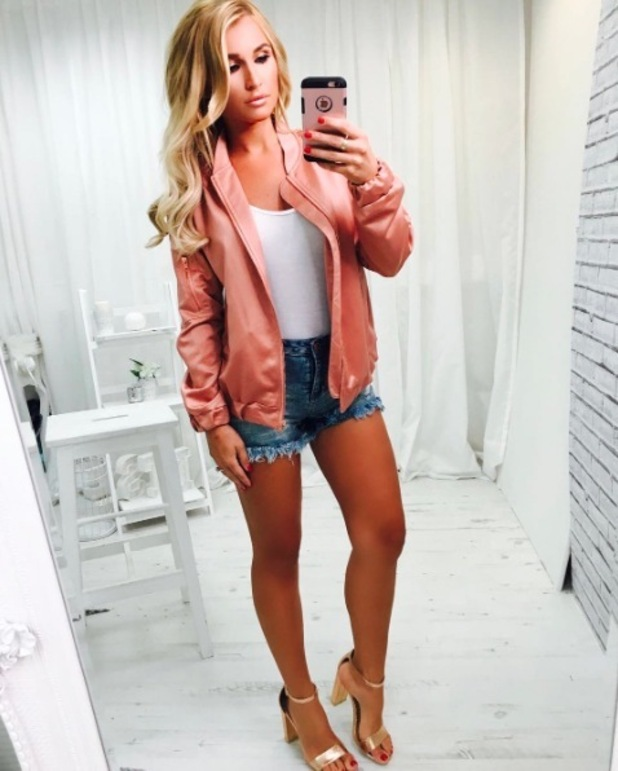 TOWIE's Billie Faiers shows off new bomber jacket in her In The Style collection, 26th May 2016