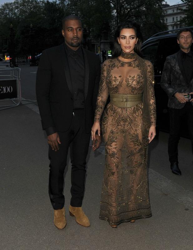 British Vogue 100th anniversary gala dinner at Kensington Gardens Kim Kardashian and Kanye West 23 May 2016