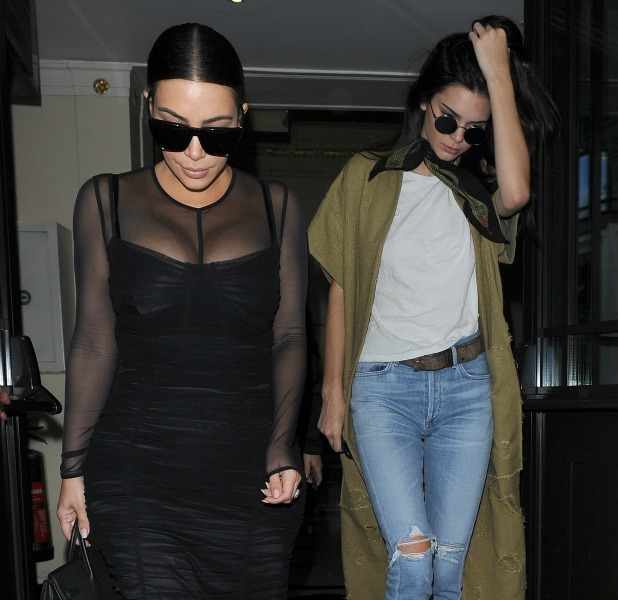 Kim Kardashian and her sister Kendall Jenner head out for lunch together 23 May 2016