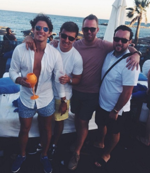 Jake Hall and friends in Marbella 29 May