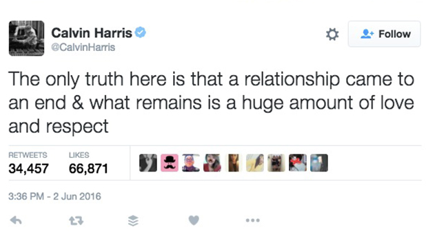 Calvin Harris confirms Taylor Swift split, 2 June 2016