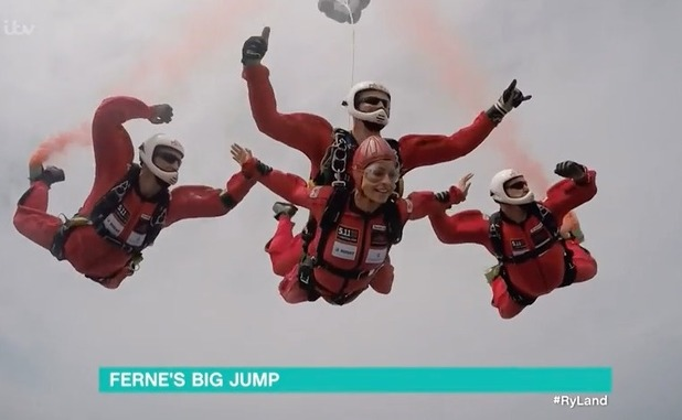 Ferne McCann skydives on This Morning for The Queen's 90th Birthday - 10 June 2016