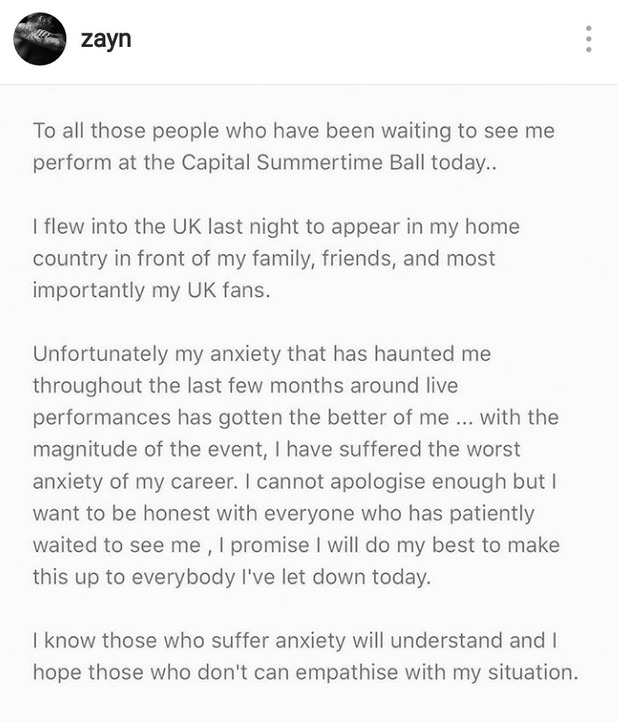 Screenshot of Zayn Malik's Instagram post explaining why he's pulled out of Capital Summertime Ball. 11/6/16