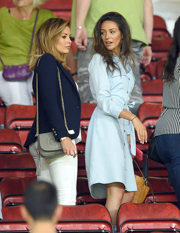 Jessica Wright and Michelle Keegan attend Soccer Aid 2016 at Old Trafford on June 5, 2016 in Manchester, United Kingdom. (Photo by Karwai Tang/WireImage)