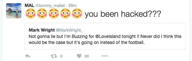 Tommy Mallet tweets Mark Wright about Love Island - 15 June 2016