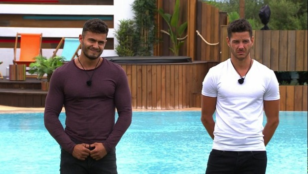 Scott Thomas and James Khan at the re-coupling, Love Island 17 June