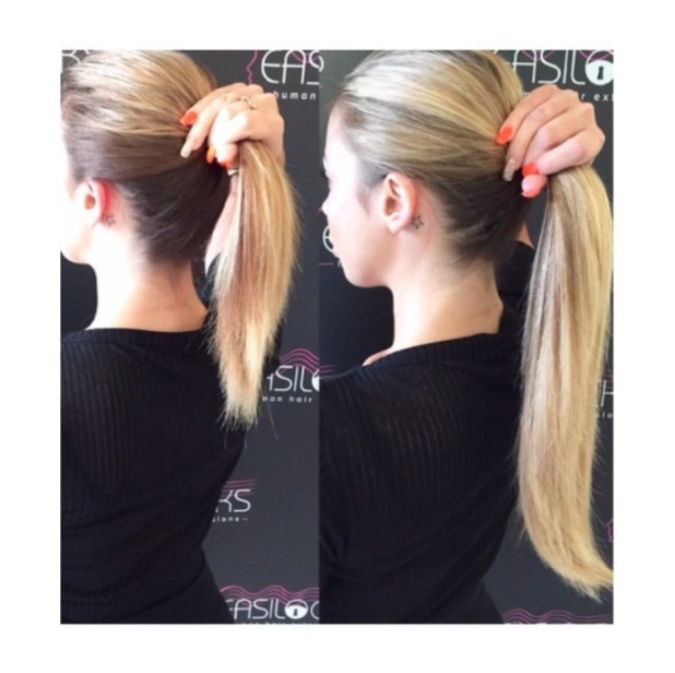 Geordie Shore's Holly Hagan shows off her new ponytail courtesy of Easilocks hair extensions, 16th June 2016
