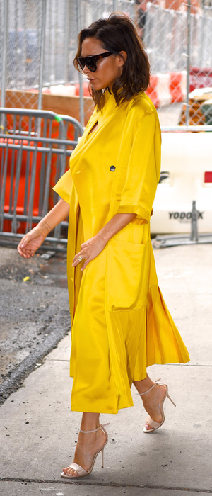 Victoria Beckham wears yellow while out and about in New York, 23rd June 2016
