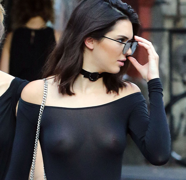 Kendall Jenner wears sheer top out and about in New York, flashes boobs and nipple piercing, 23rd June 2016