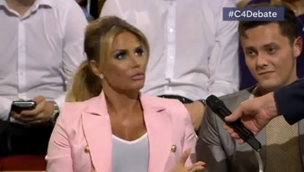 Katie Price on the Channel 4 European Union Referendum Debate, 22 June 2016