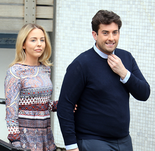 Lydia Bright and James Argent outside ITV Studios, March 2016