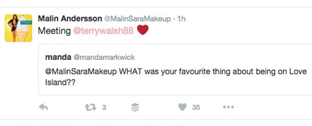 Love Island's Malin tweets about meeting Terry, 23 June 2016