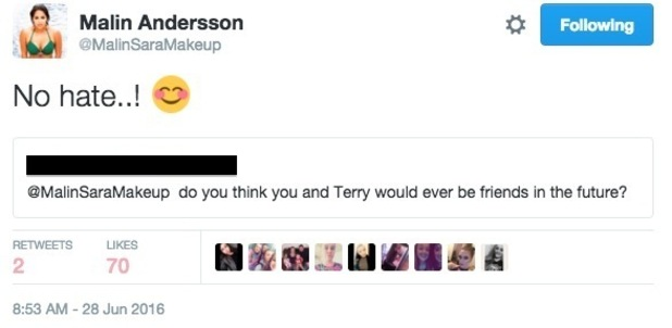 Malin Andersson tweets about her and Terry Walsh being friends 28 June