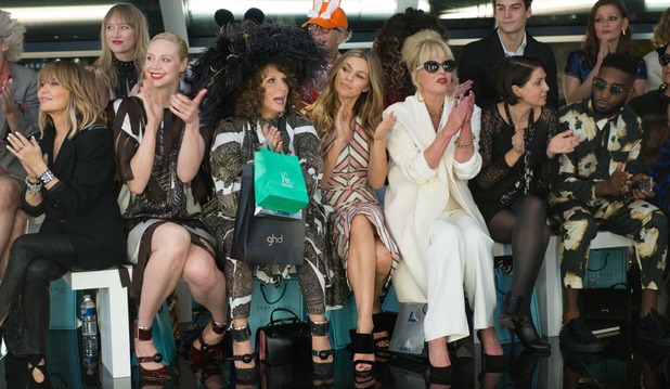 Absolutely Fabulous: The Movie still with Lulu, Gwendoline Christie, Jennifer Saunders, Abbey Clancy, Joanna Lumley, Tinie Tempah