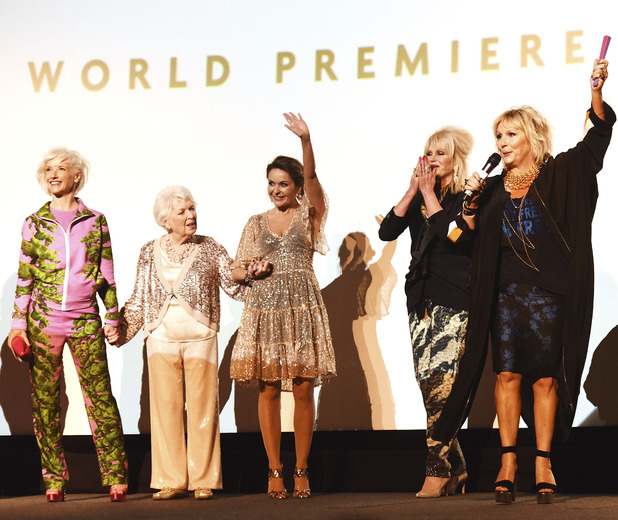 Jane Horrocks, June Whitfield, Julia Sawalha, Joanna Lumley and Jennifer Saunders attend the World Premiere of 'Absolutely Fabulous: The Movie' at Odeon Leicester Square on June 29, 2016 in London, England.
