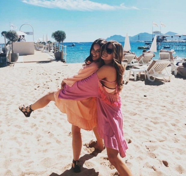Binky Felstead and Louise Thompson in Cannes, South of France 28 June