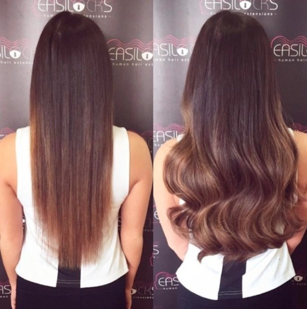 TOWIE's Courtney Green shares a picture of her new hair after getting Easilocks extensions, Essex, 29th June 2016