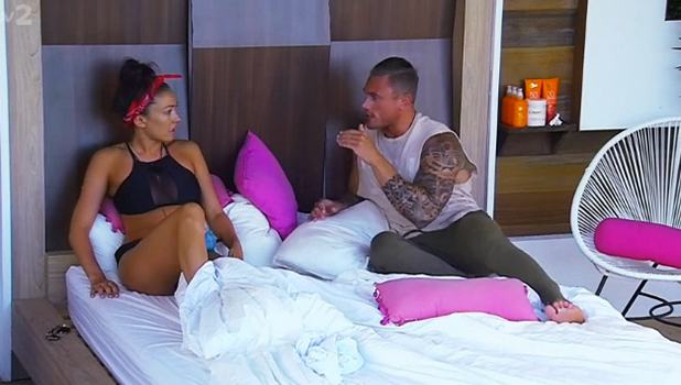 Sophie and Tom on ITV reality show 'Love Island'. Broadcast on ITV2 HD.